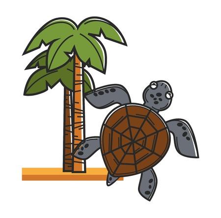 Tall Hawaiian palms on sand and huge sea turtle
