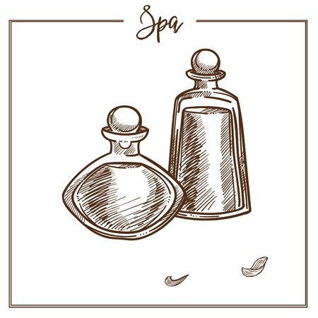 Bottles full of oils for spa procedure monochrome sketch