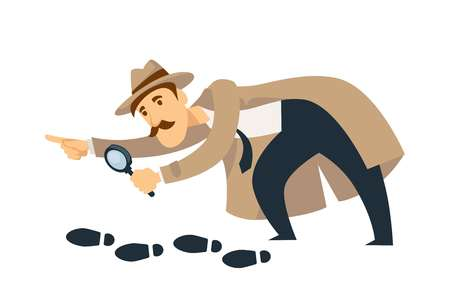 Professional detective with mustaches and magnifier follows footprints