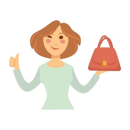 Blogger girl or vlogger woman making fashion shopping blog or video vlog. Illustration
