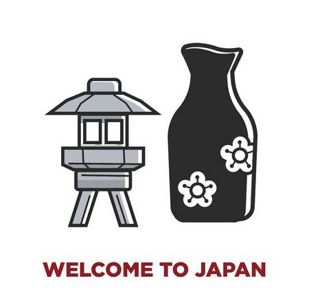 Welcome to Japan promotional poster with small lantern and black vase with flowers. Japanese traditional culture elements. Metal lamp and decorative china vessel isolated cartoon vector illustration.