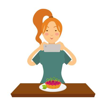 Blogger girl or vlogger woman shooting pastry on smartphone for social net photo blog or video vlog life hack or bakery recipe. Vector cartoon blogger or vlogger concept isolated character