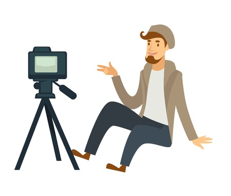 Blogger boy or vlogger man shooting video on camera for social net blog or video vlog life hack and review. Vector cartoon blogger or vlogger concept isolated character Illustration