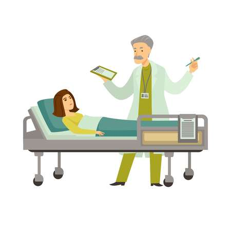 Doctor with diagnosis list at patient lying in couch. Vector physician reading or telling to woman patient in bed on medical analysis results cartoon flat characters