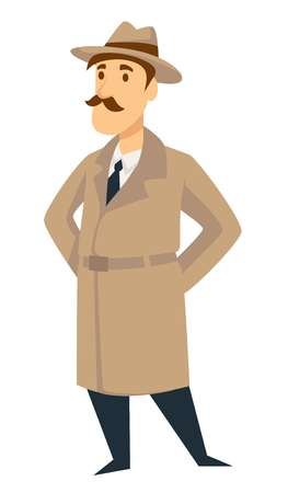 Detective man on investigation. Vector cartoon secret agent or police inspector man character in detective coat and hat with mustaches
