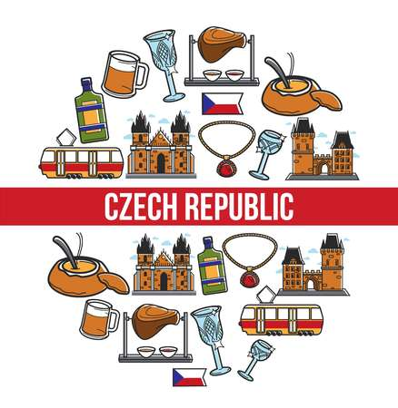 Czech Republic poster of famous travel landmarks and traditional culture attraction symbols. Vector Czech Republic flag, food and drink, Prague tram or castle and Bohemian crystal glass