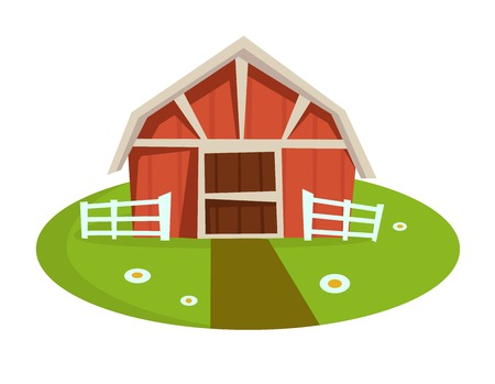 Red wooden barn with fence on green lawn with small path and chamomiles. Rural capacious building at farm as domestic dwelling isolated cartoon flat vector illustration on white background. 일러스트