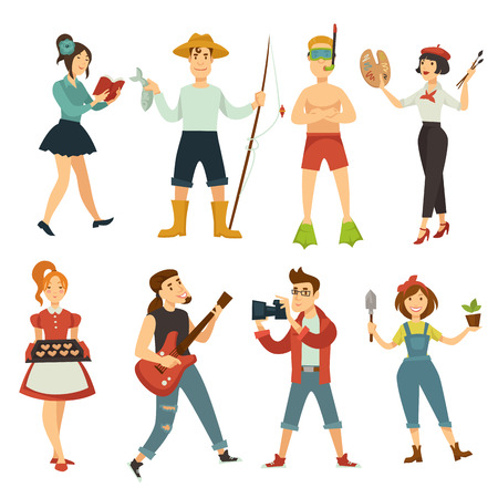 People hobby characters of woman artist reading, fisher and diver man playing and singing music on guitar, baker and photographer or gardener. Vector cartoon hobby or profession concept Ilustração