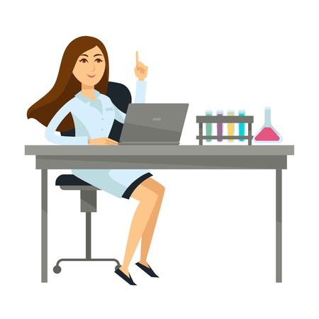 Woman scientist sits with laptop and glass flasks. Female character in robe works on computer and chemical liquids in special containers isolated cartoon flat vector illustration on white background.
