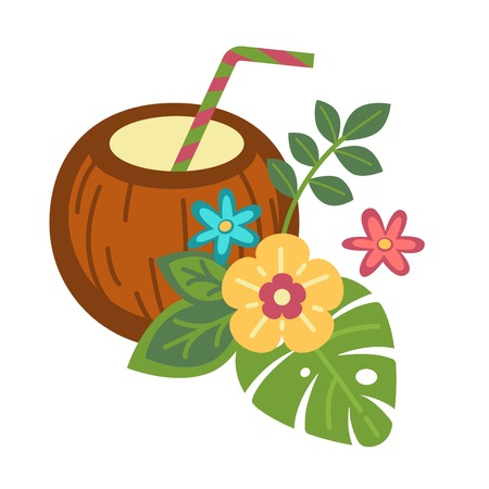 Cocktail inside whole coconut with straw, tropical flowers and palm leaves. Summer exotic tasty beverage and plants with blossom isolated cartoon flat vector illustration on white background.