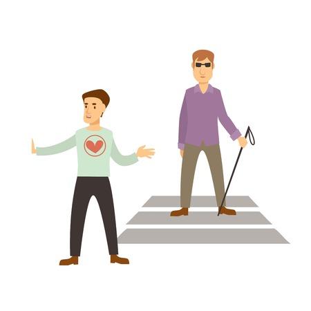 Volunteer work or volunteering people. Vector social volunteer boy assists to cross road to blind man