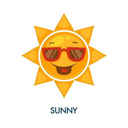 Sunny weather icon with cool sun in sunglasses