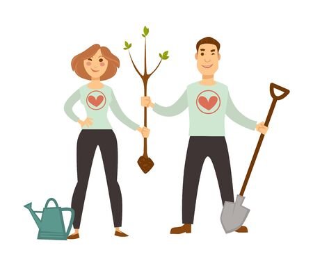 Volunteers in sweater with hearts plant tree sprout. Man with spade and woman with watering can hold thin trunk to make earth more green isolated cartoon flat vector illustration on white background.
