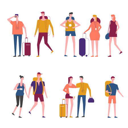 Travelers cartoon icons. Vector people man an woman traveling with travel bags or backpacker tourists and hitchhiker with backpacks city map or smartphone photo camera