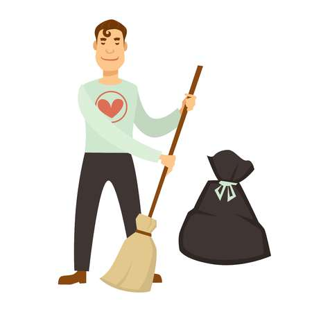 Volunteer work or volunteering people. Vector social volunteer boy or man clean garbage on street or help to handicapped in home
