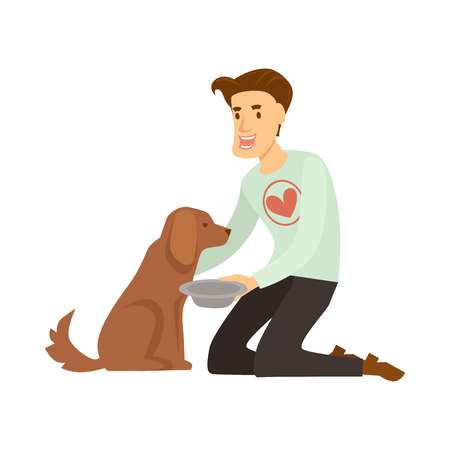 Volunteer in sweater with red heart feeds fluffy homeless dog. Guy helps poor hungry animal. Man holds bowl to give food to pet isolated cartoon flat vector illustration on white background. Vectores