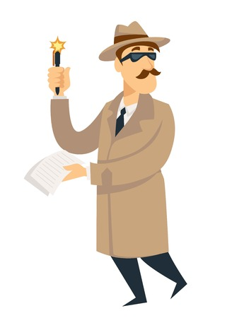 Detective man on investigation. Vector cartoon man character in detective secret agent coat, hat and glasses with gun investigates with pen and evidence note list Illustration
