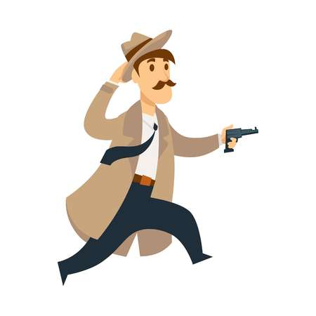 Professional detective run fast in chase with pistol. Man with mustache in beige hat and long coat follows criminal with loaded gun isolated cartoon flat vector illustration on white background. Illustration