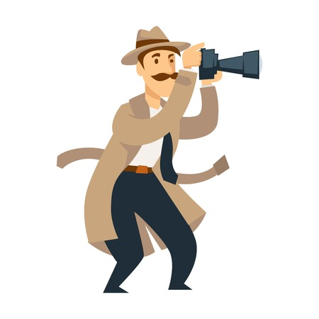 Male private detective with professional camera conducts investigation. Man with thick mustache in hat and coat makes shots of crime scene isolated cartoon vector illustration on white background.