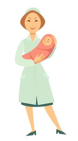 Nurse with newborn baby in swaddle. Vector cartoon woman doctor holding little boy or girl for child birth concept Illustration
