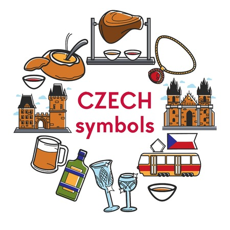 Czech Republic famous travel landmarks and traditional culture attraction symbols. Vector Czech Republic flag, pork knuckle cuisine, Prague tram or ancient castle and Bohemian crystal glass Illustration