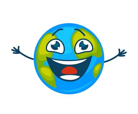 Earth planet laughing vector cartoon character