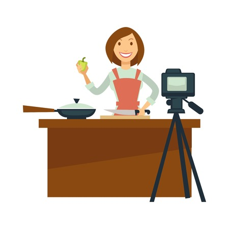 Blogger or vlogger woman shoot vector cooking