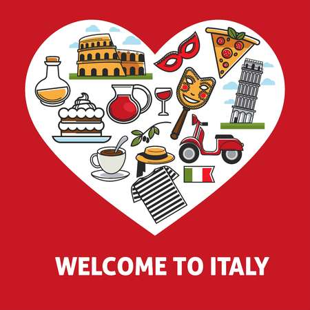 Welcome to Italy promotional poster with country symbols inside heart. Cultural elements, exquisite food and ancient architecture isolated cartoon flat vector illustration on red background. Ilustração