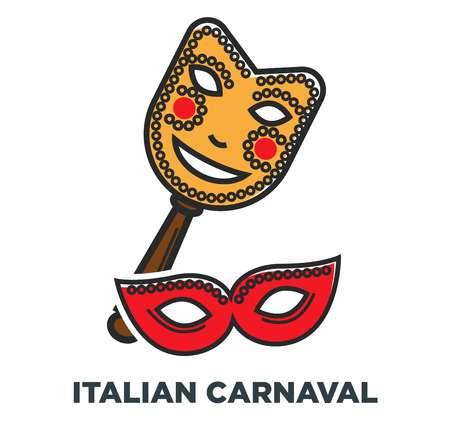 Italian carnaval promo poster with elegant festive masks
