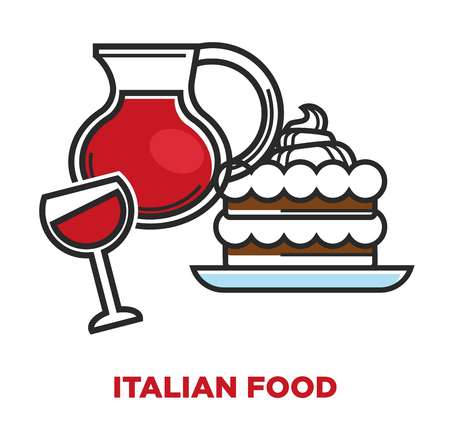 Italian food promotional poster with jag of red wine and delicious sweet tiramisu. Tasty creamy dessert and grape drink in glass isolated cartoon flat vector illustration on white background.