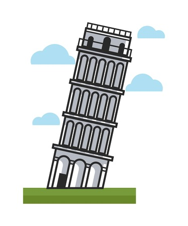 Famous inclined Pisa tower as main attraction of Italy Illustration