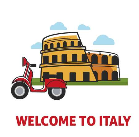 Welcome to Italy promotional banner with famous coliseum and moped Stok Fotoğraf - 100201565