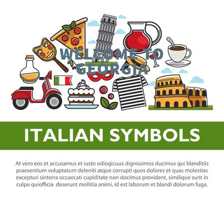 Italian national symbols promotional poster with sample text Illustration