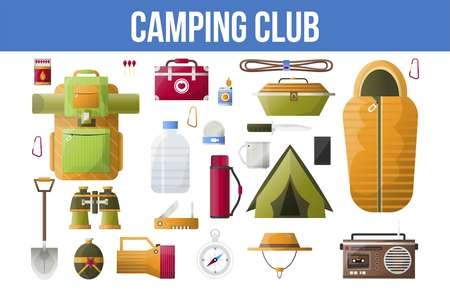 Summer camping club or camping vector tools icons