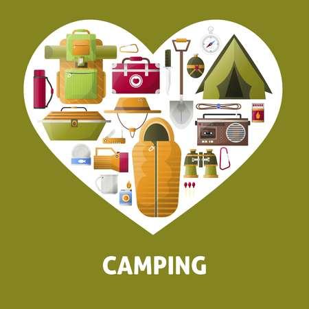 Summer camping heart vector poster