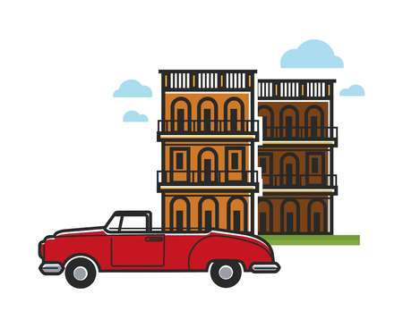 Cuba travel famous vector car and architecture 矢量图像