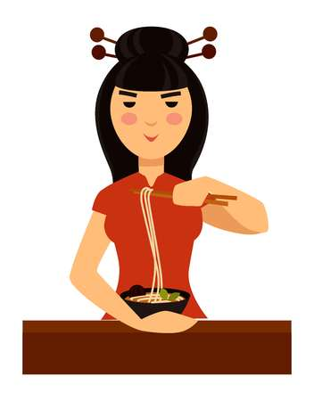 Typical Chinese woman eats traditional meal of noodles