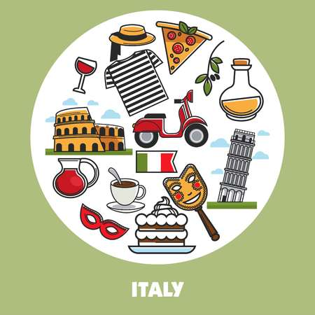 Italy sightseeing landmarks and famous travel attractions poster. Illustration
