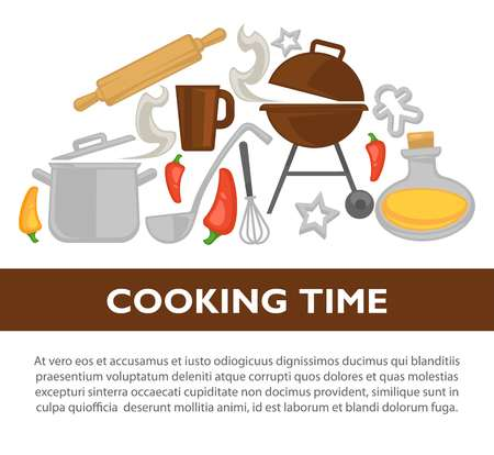 Cooking time vector kitchenware poster Illustration