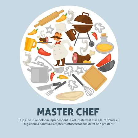 Cooking school master chef vector poster Illustration