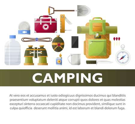 Camp poster of vector camping tools illustration.