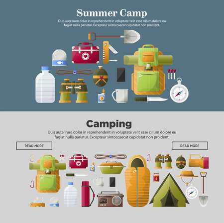 Summer camp banners of vector camping tools illustration. Illustration