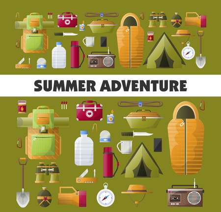 Summer camping adventure vector poster Stock Vector - 100786600