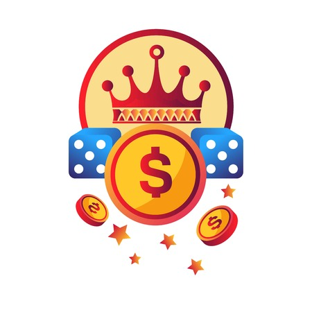 Casino modern club promotional logotype with royal crown