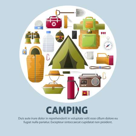 Summer camping and forest camp vector poster