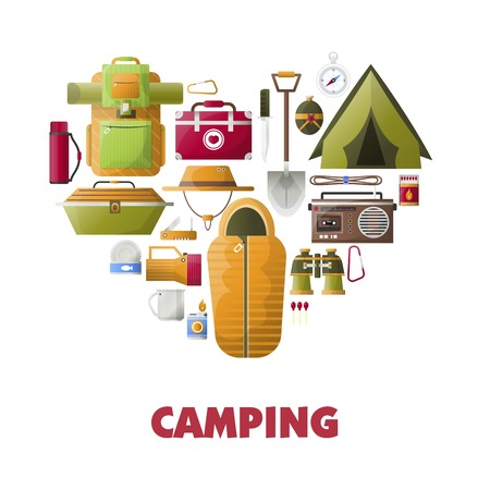 Summer camping vector poster of camp tools icons