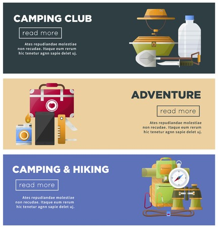 Summer camp club vector camping web banners Illustration