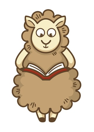 Cute fluffy sheep with curly wool reads book