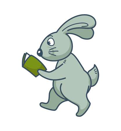 Bunny with long ears walks and reads book
