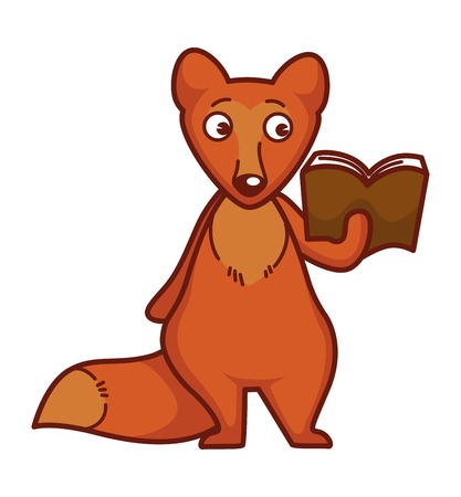 Curious fox with ginger fur and rhick tail reads book